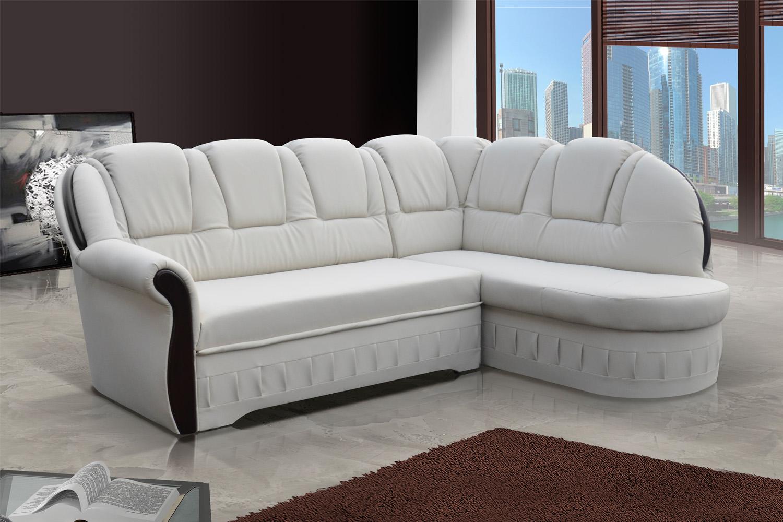 ELTAP Rohová sedačka LORD, pravá, ekokůže bílá