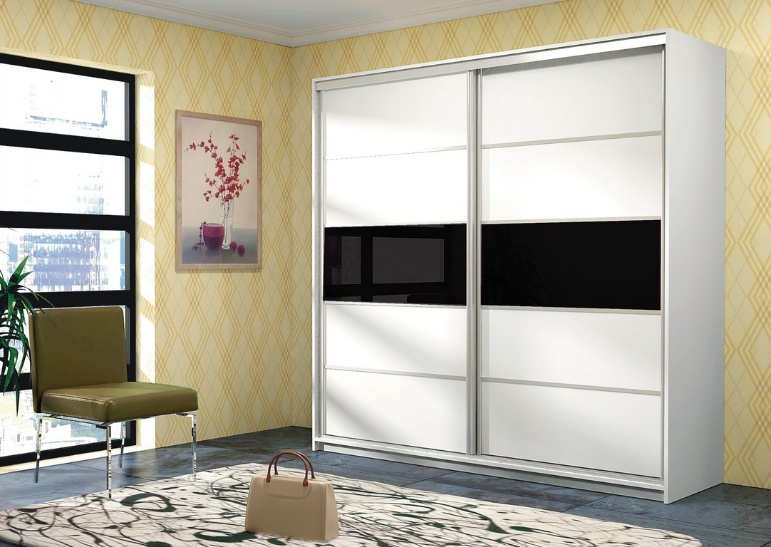 Smartshop DUBAJ, šatní skříň, bílá/černé sklo