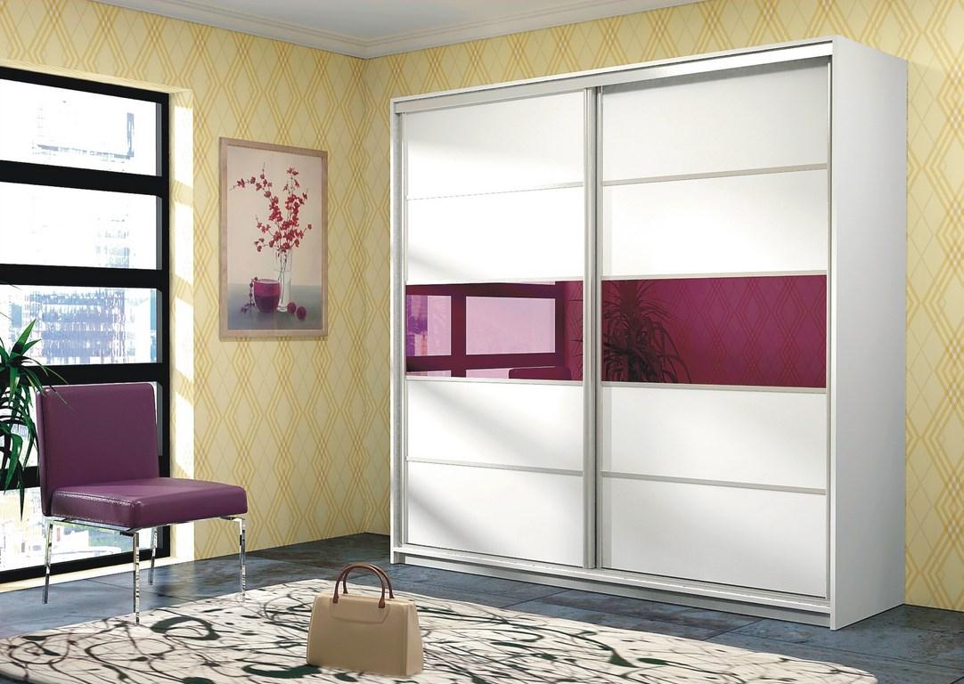 Smartshop DUBAJ, šatní skříň, bílá/fialové sklo