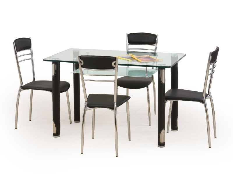 Halmar Jídelní stůl GOTARD, černý, kov/sklo