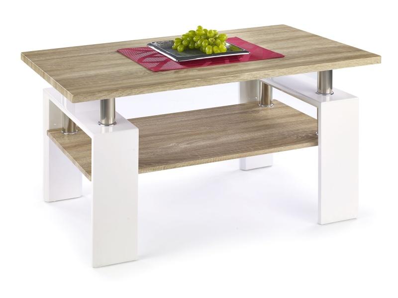 Konferenční stolek DIANA H MDF, dub sonoma/bílá
