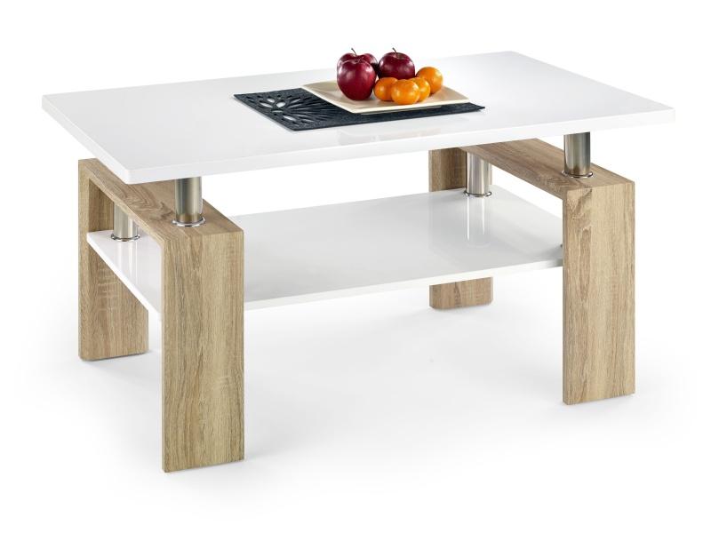 Konferenční stolek DIANA H MDF, bílá/dub sonoma