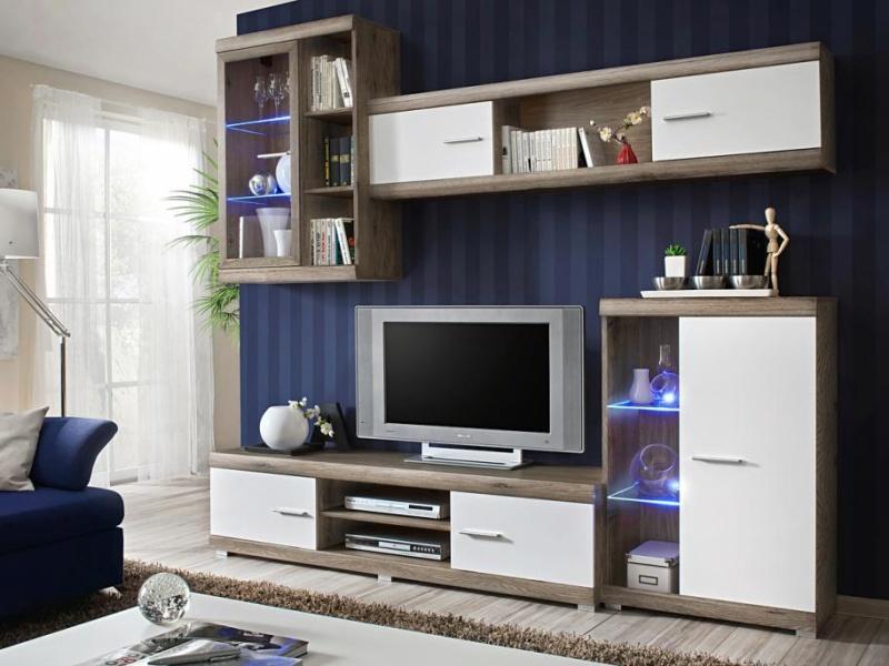 KRISMAR LAGUNA, obývací stěna, dub san remo/bílá