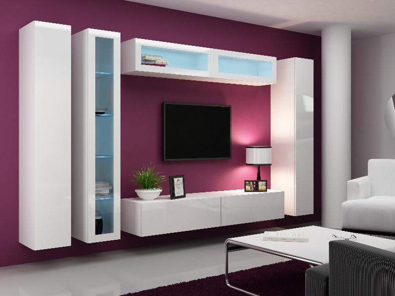 CAMA Obývací stěna VIGO 6, bílá/bílý lesk