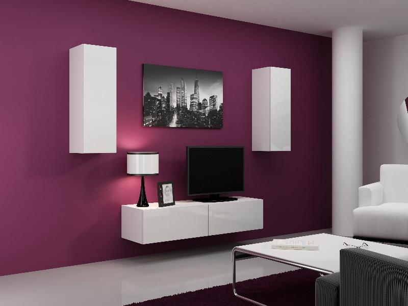 CAMA Obývací stěna VIGO 7, bílá/bílý lesk