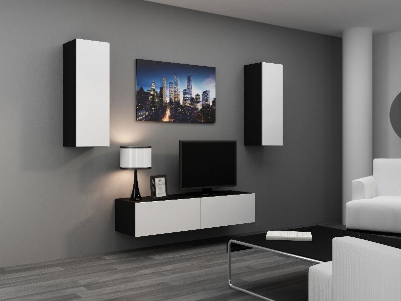 CAMA *Obývací stěna VIGO 7, černá/bílý lesk