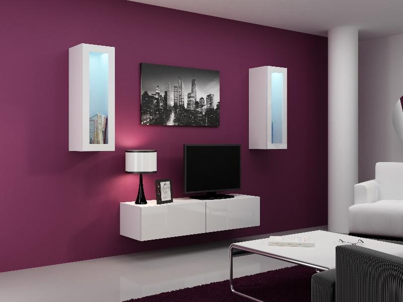 CAMA Obývací stěna VIGO 8, bílá/bílý lesk