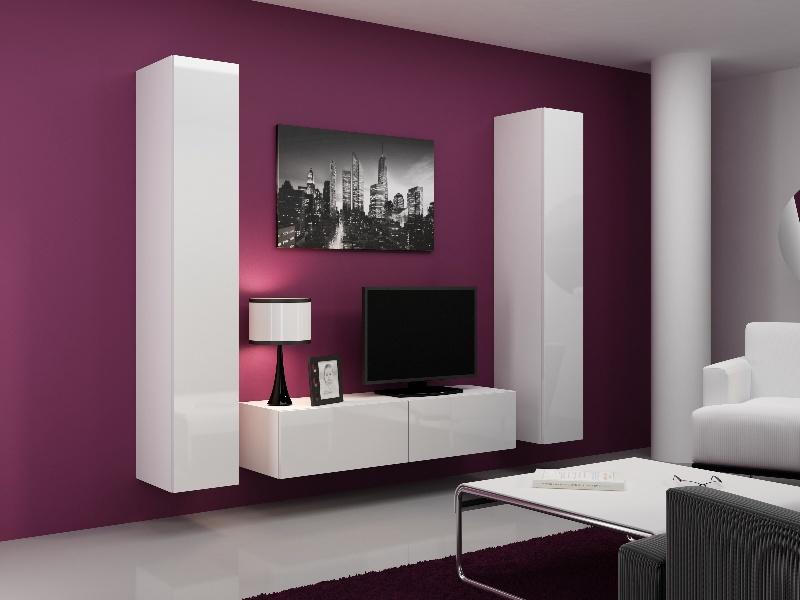 CAMA Obývací stěna VIGO 9, bílá/bílý lesk
