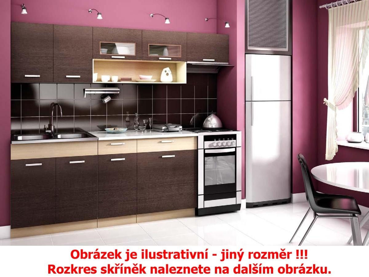 Smartshop Kuchyně MORENO 260 cm, kaštan DOPRODEJ