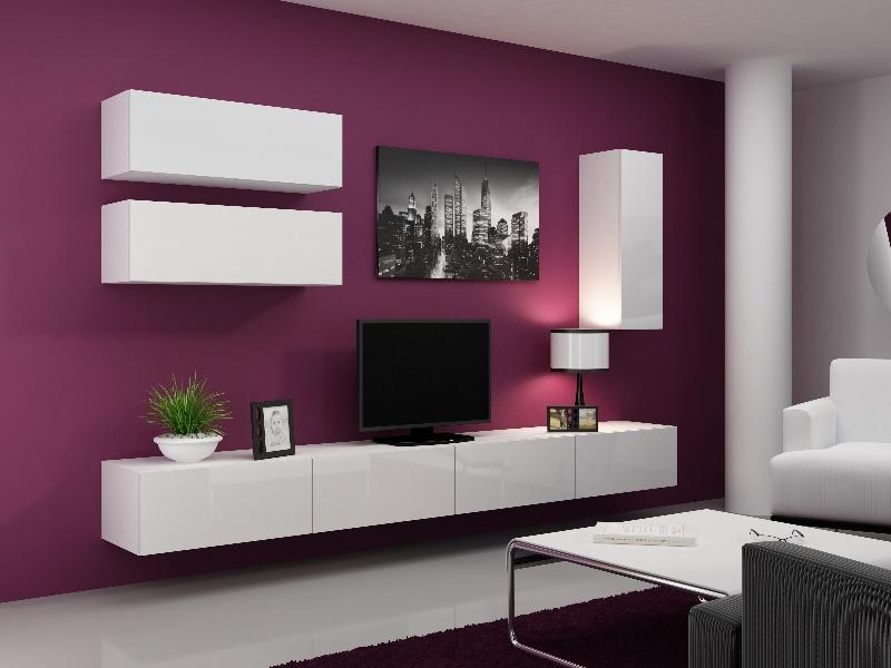 CAMA Obývací stěna VIGO 13, bílá/bílý lesk