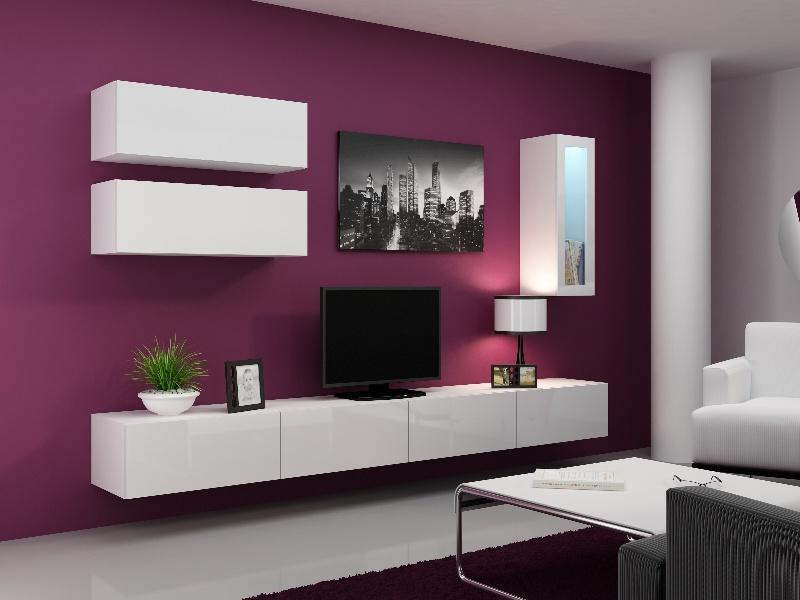 CAMA Obývací stěna VIGO 12, bílá/bílý lesk
