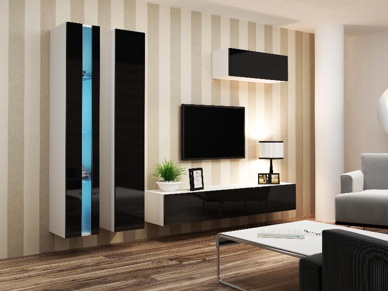 CAMA *Obývací stěna VIGO NEW 1, bílá/černý lesk