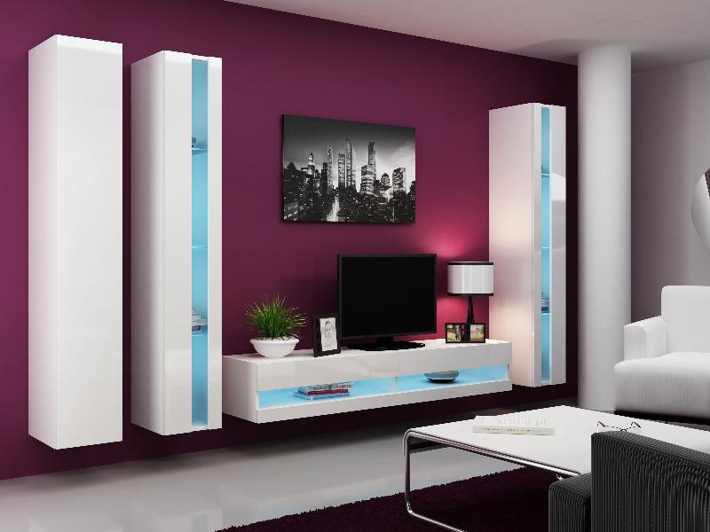 CAMA Obývací stěna VIGO NEW 6, bílá/bílý lesk
