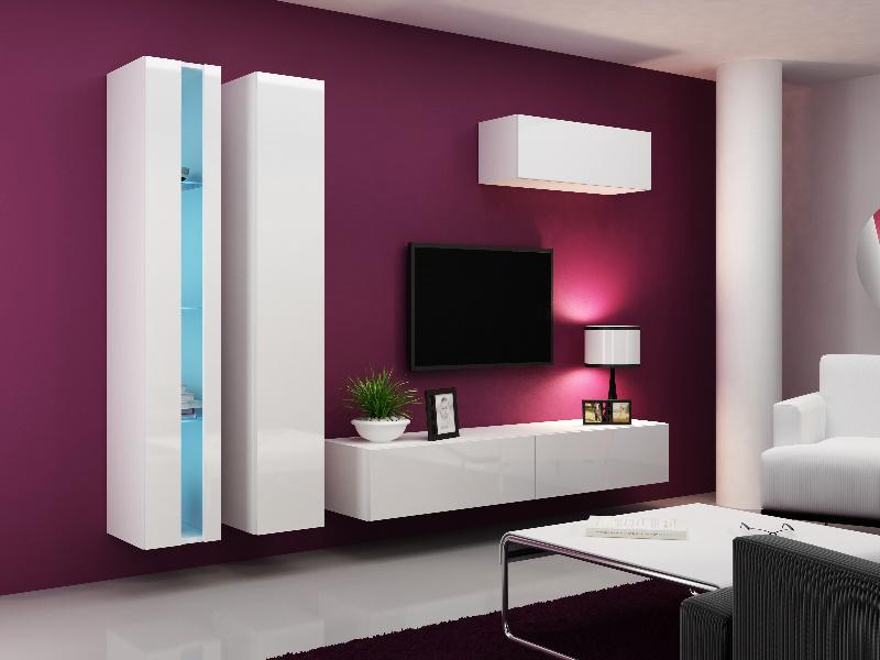CAMA Obývací stěna VIGO NEW 1, bílá/bílý lesk
