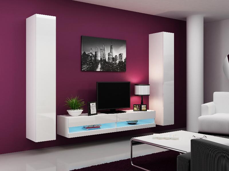 CAMA Obývací stěna VIGO NEW 4, bílá/bílý lesk