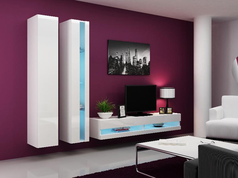 CAMA Obývací stěna VIGO NEW 5, bílá/bílý lesk