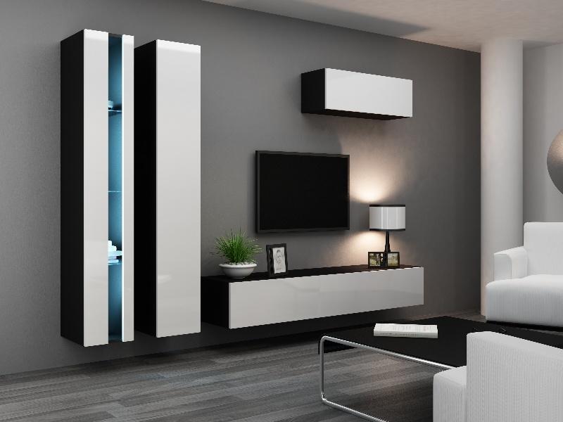 CAMA *Obývací stěna VIGO NEW 1, černá/bílý lesk