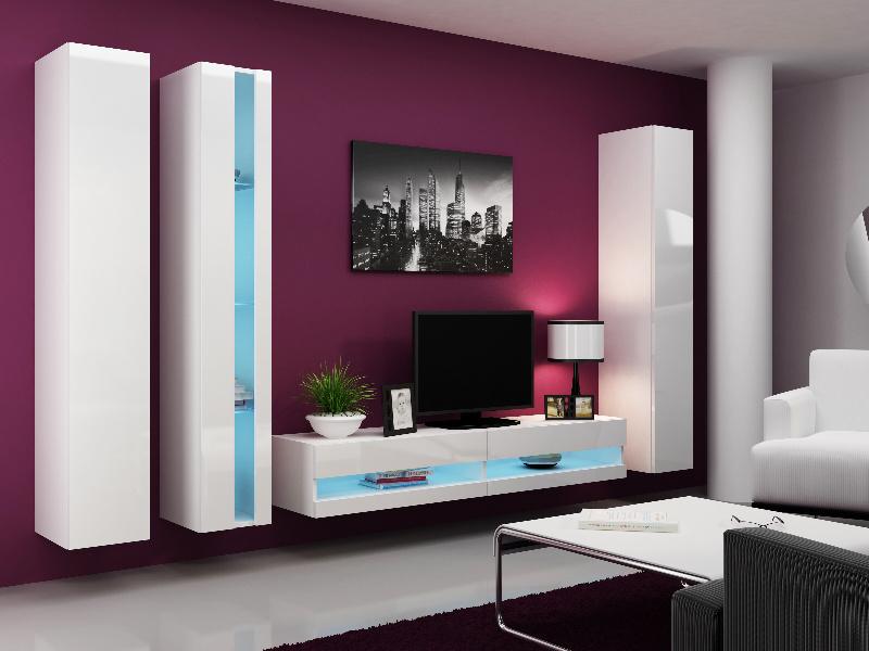 CAMA Obývací stěna VIGO NEW 7, bílá/bílý lesk