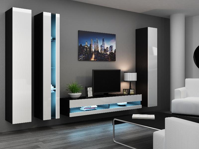 CAMA *Obývací stěna VIGO NEW 7, černá/bílý lesk