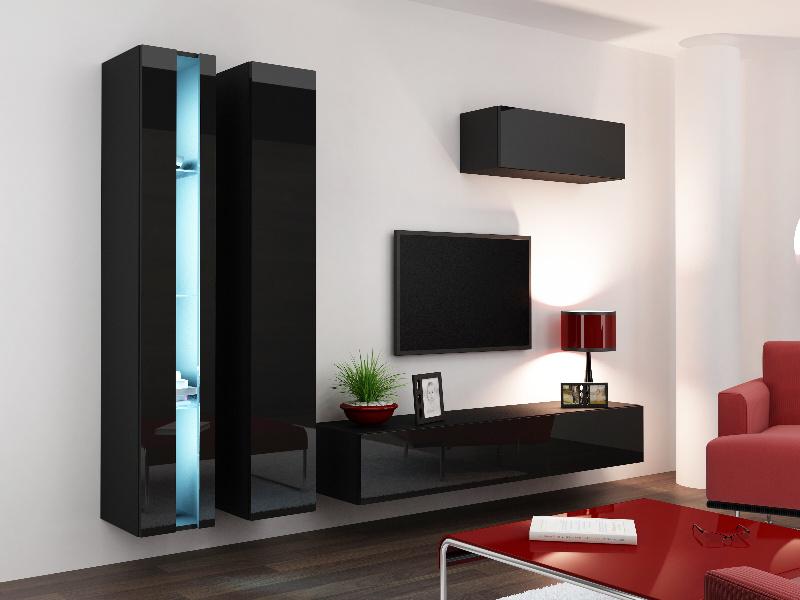 CAMA *Obývací stěna VIGO NEW 1, černá/černý lesk