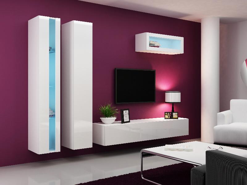 CAMA Obývací stěna VIGO NEW 2, bílá/bílý lesk