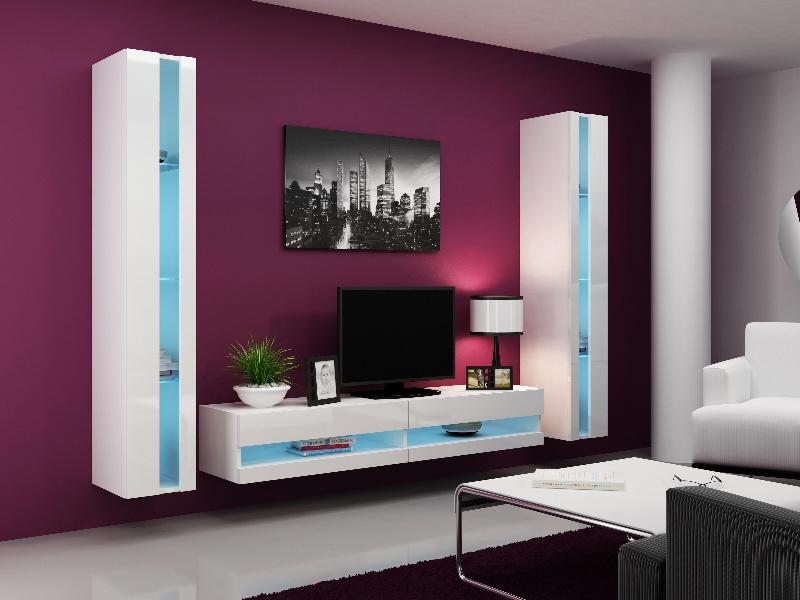 CAMA Obývací stěna VIGO NEW 3, bílá/bílý lesk