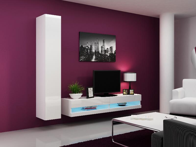 CAMA Obývací stěna VIGO NEW 9, bílá/bílý lesk