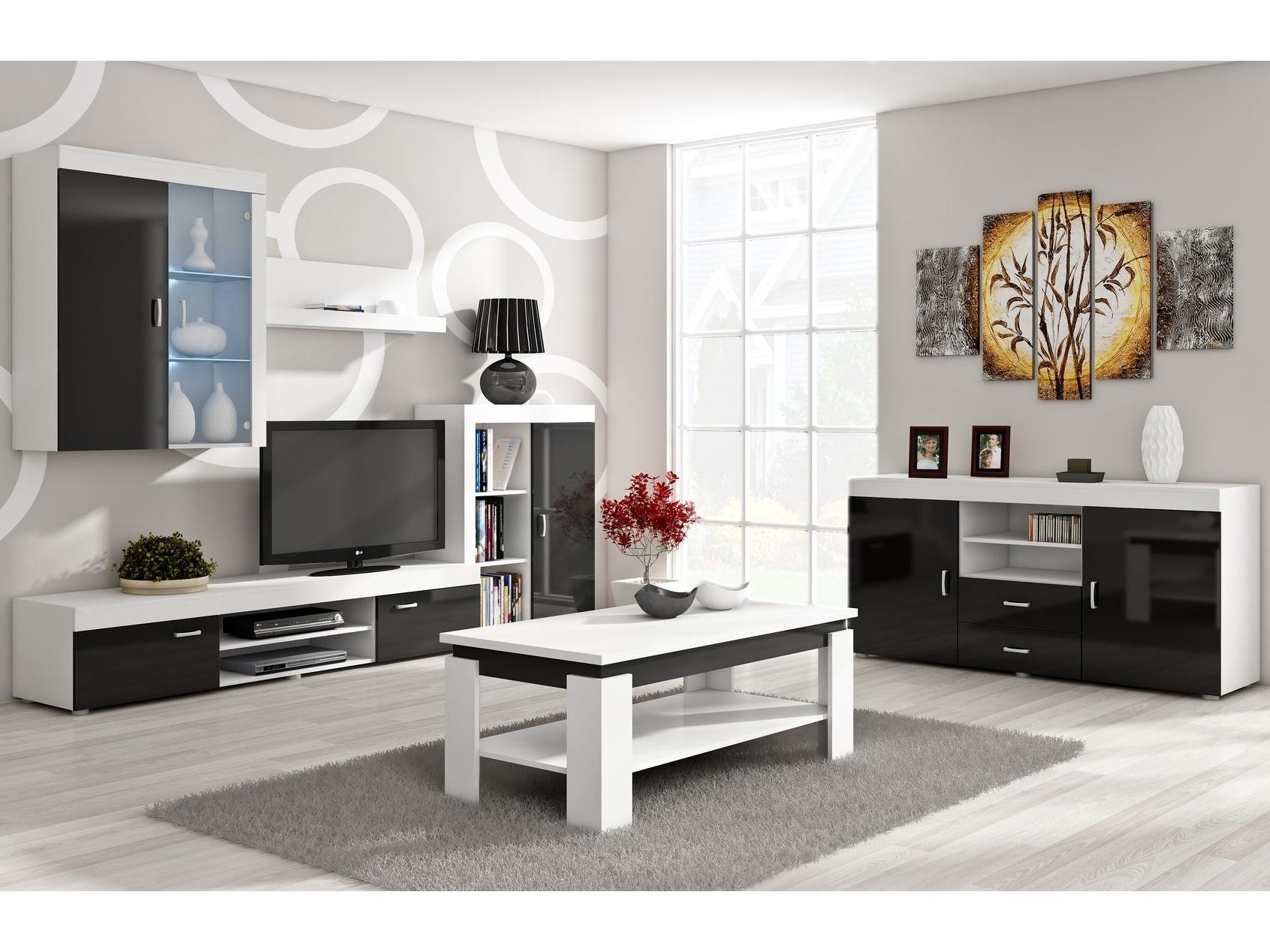 Obývací stěna MAMBA, bílá/černý lesk