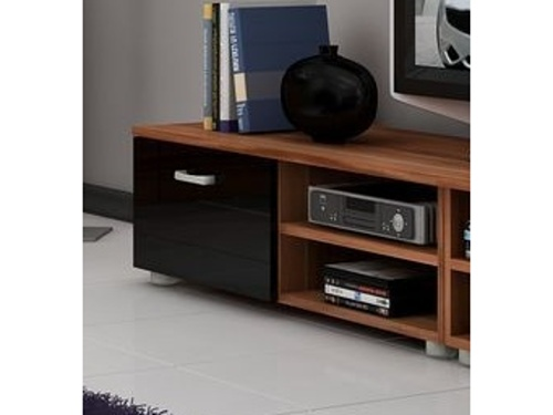 MORAVIA FLAT MAGIC, RTV stolek krátký, švestka/černý lesk
