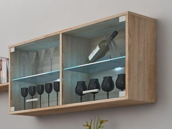 MORAVIA FLAT MAGIC, závěsná skříňka prosklená, dub sonoma sv.