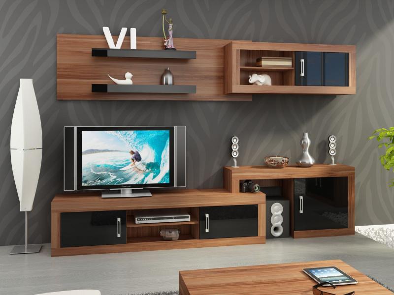 MORAVIA FLAT Obývací stěna VERIN 1, švestka wallis/černý lesk