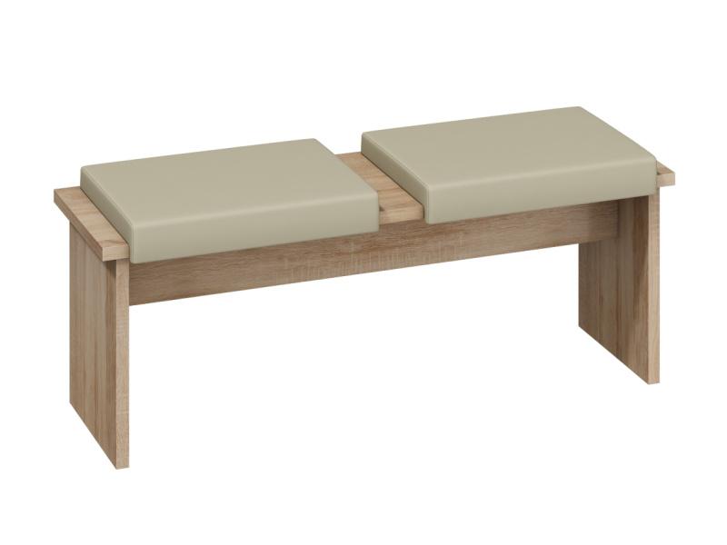 MORAVIA FLAT BOND, lavice/taburet velký, dub sonoma sv./béžová ekokůže