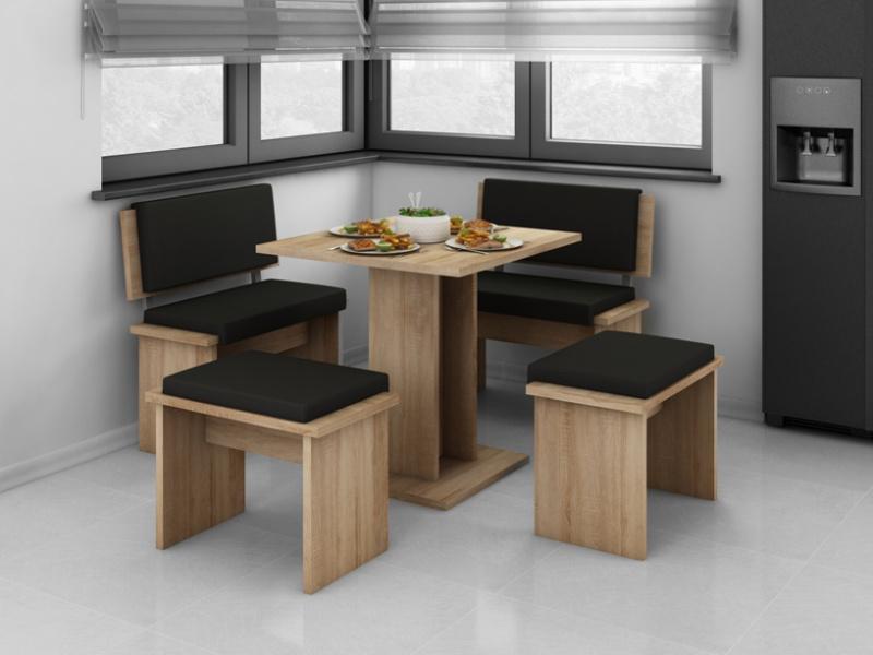 MORAVIA FLAT BOND, jídelní set malý, dub sonoma sv./černá eko
