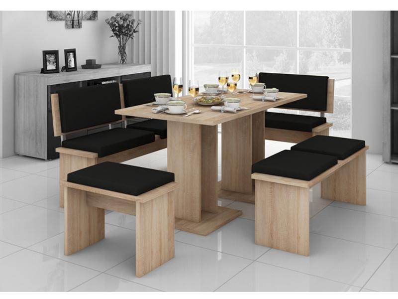 MORAVIA FLAT BOND, jídelní set velký, dub sonoma sv./černá eko