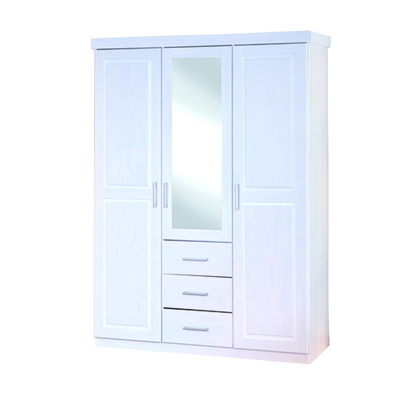Šatní skříň se zrcadlem GERALDO, bílá