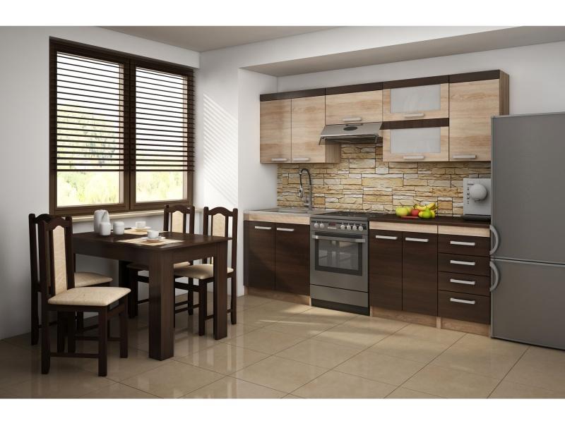MORAVIA FLAT Kuchyně MILO 180/240, vzorová sestava, dub sonoma/wenge
