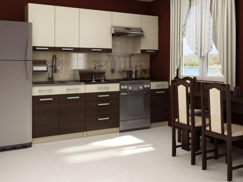 MORAVIA FLAT Kuchyně POLO 180/240, vzorová sestava 3, wenge/krémová