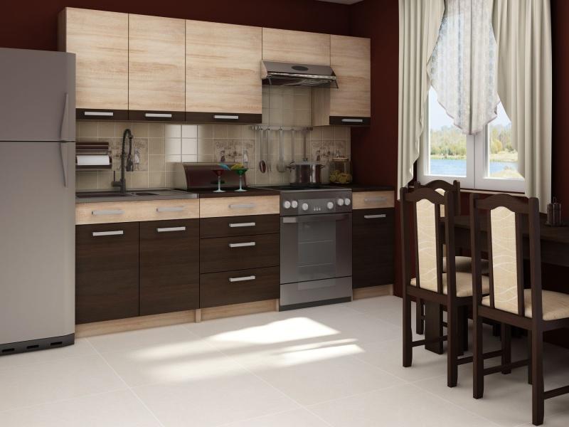 MORAVIA FLAT Kuchyně POLO 180/240, vzorová sestava 3, wenge/dub sonoma