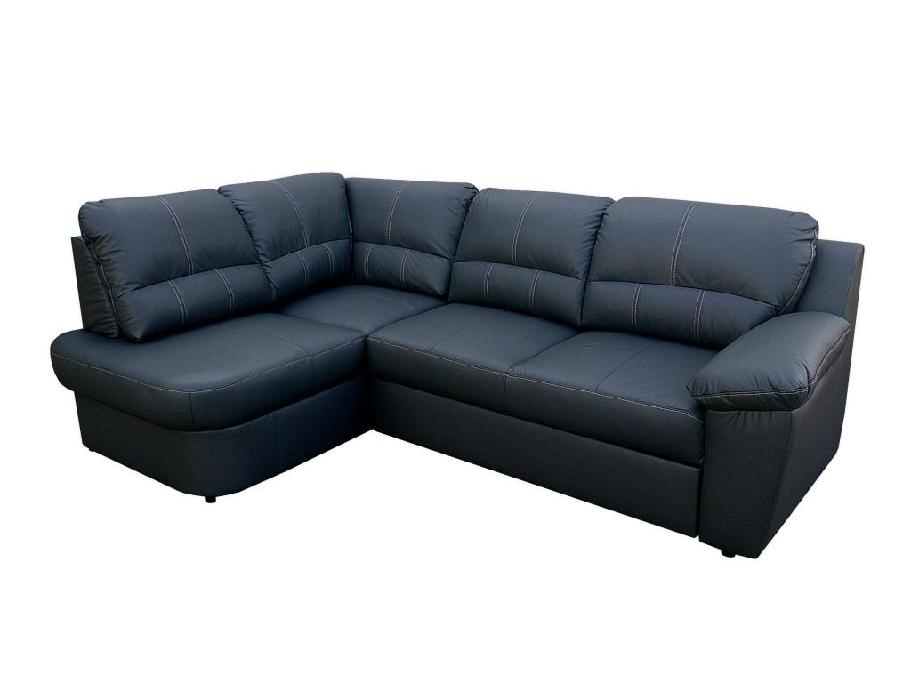 Aspol Kožená rohová sedačka AROSA, černá, levá