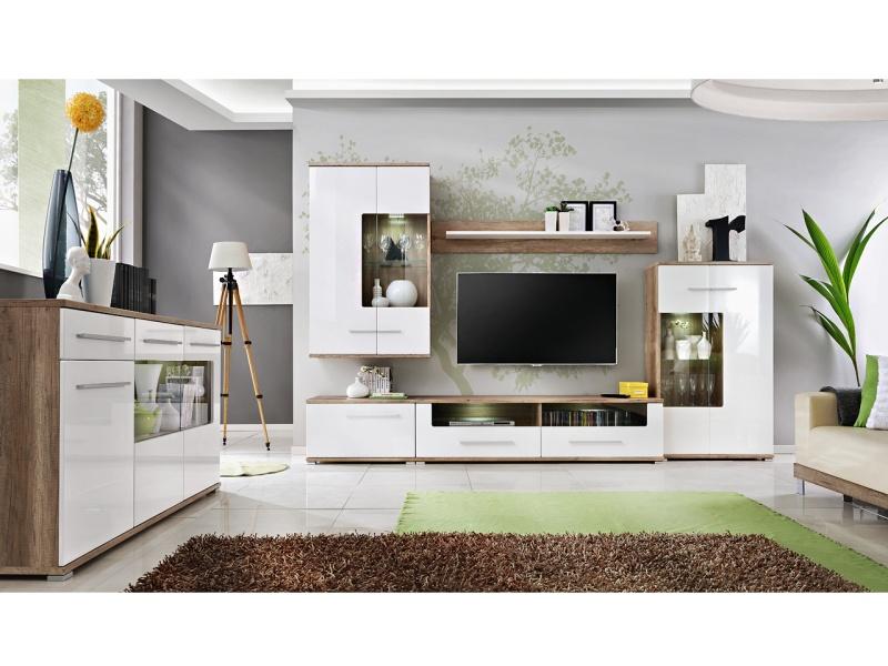 Smartshop Obývací stěna SAALSA, dub monument/bílý lesk