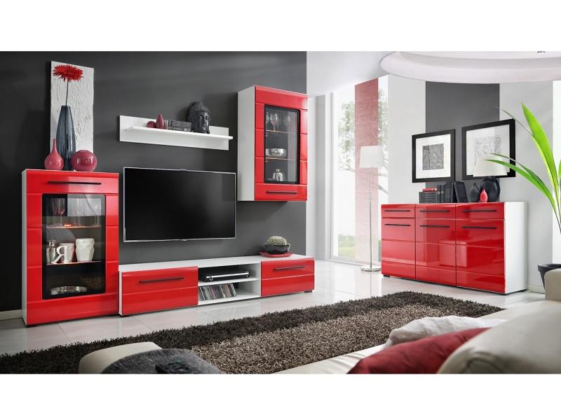 Smartshop Obývací stěna TIMBER 1, bílá/červený lesk