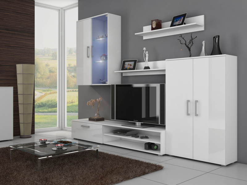 MORAVIA FLAT STELLA, obývací stěna, bílá/bílý lesk