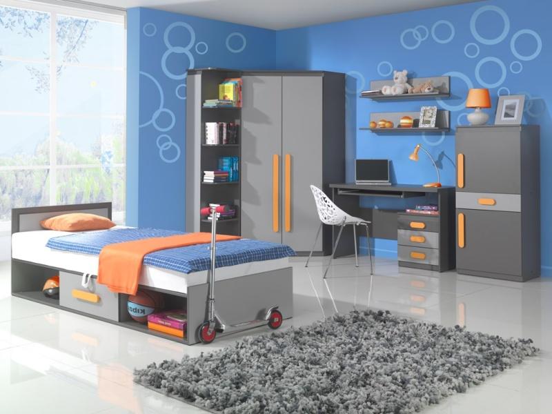 DIGNET PLAY, dětský pokoj 2, grafit/šedá + oranžové úchytky