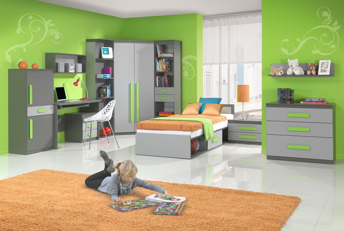 DIGNET PLAY, dětský pokoj 1, grafit/šedá + zelené úchytky