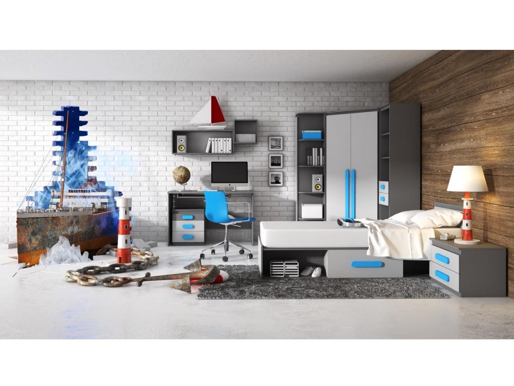DIGNET PLAY, dětský pokoj 3, grafit/šedá + modré úchytky