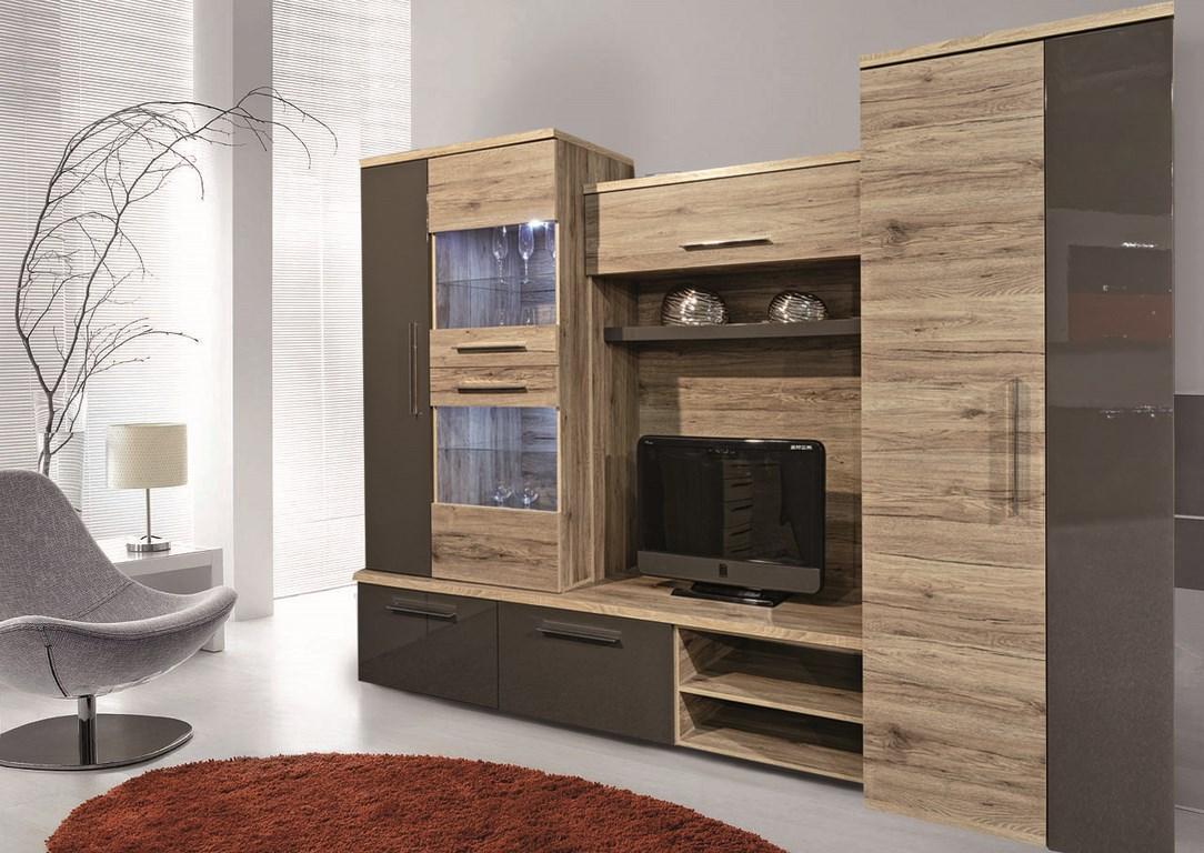 INFINITO, obývací stěna, dub sanremo/tmavě šedý lesk