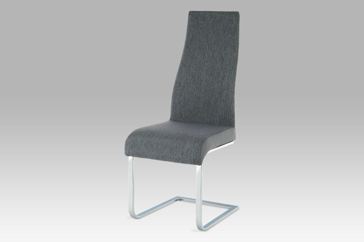 Autronic Jídelní židle AC-1817 GREY2, chrom/látka šedá