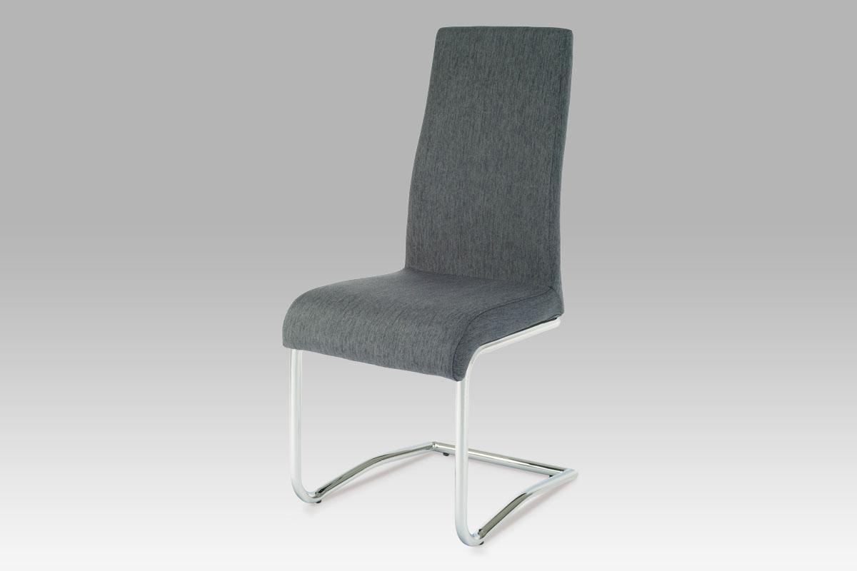 Autronic Jídelní židle AC-1950 GREY2 chrom/látka šedá