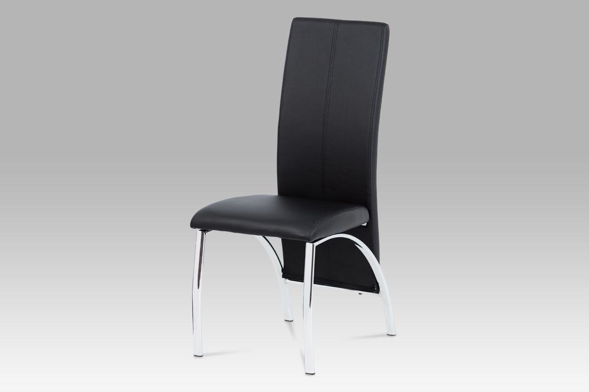 Autronic Jídelní židle AC-1060 BK, chrom/koženka černá