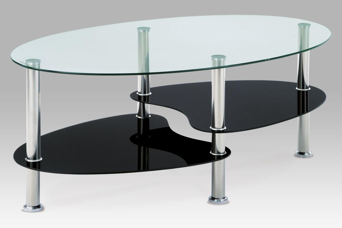Autronic konferenční oválný stolek GCT-302 GBK, 100x60x41 cm